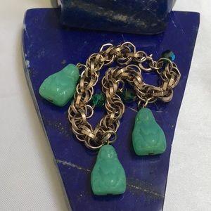 Jewelry - Vintage Pressed Czech Glass Buddha Bracelet